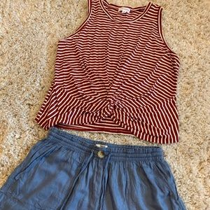 Burgundy and white striped top and denim shorts